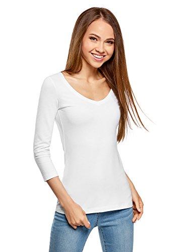oodji Collection Damen Tagless T-Shirt mit V-Ausschnitt und 3/4-Arm, Weiß, DE 38 / EU 40 / (Outfits Armee)