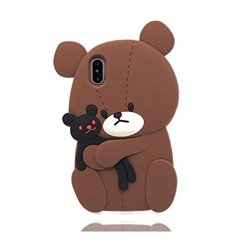 3D Cartoon ( orso bear ) iPhone X Custodia, copertura per iPhone X / Survivor Clear case per iPhone X / Cartoon Morbido Flessibile TPU Cover Shell Scivolamento di polvere Color 4