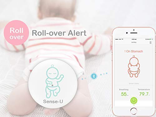 Sense-U Baby Monitor Breathing Temperature Rollover Movement Portable Alarm Alert you for No Breathing Movement, Stomach Sleeping, Overheating and Getting Cold(2019 Updated Version) Sense-U KNOW YOUR BABY'S BREATHING IS OKAY: Monitor your baby's breathing while they sleep, with audible alarm for no breathing movement and fast breathing movements(60+/min) from your smartphone, and notify you if something appears to be wrong. NOTIFY YOU FOR STOMACH SLEEPING: Monitor your baby's sleep position and notify you when your baby rolls over to stomach sleeping. PROTECT YOUR BABY FROM OVERHEATING & GETTING COLD: Monitor your baby's ambient temperature/humidity level around their body with built-in thermometer and notify you when levels go outside of preset zones. (2018 New Model: Temperature hole moved from bottom to top for faster overheating & cold detection) 3