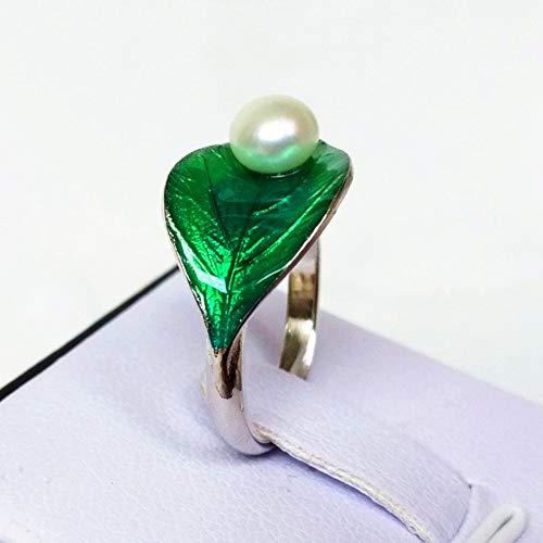 Damen 925 Sterling Silber Ring, Vintage Grüne Blätter Botanische Elemente Perle Verziert Mode Paar Fingerringe Weiblich, Urlaub Geschenk Jahrestag Hochzeit Engagement Engagement Brautschmuck -