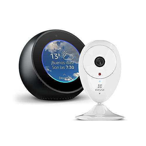 Amazon Echo Spot, negro + EZVIZ ezCube Pro Cámara de Seguridad