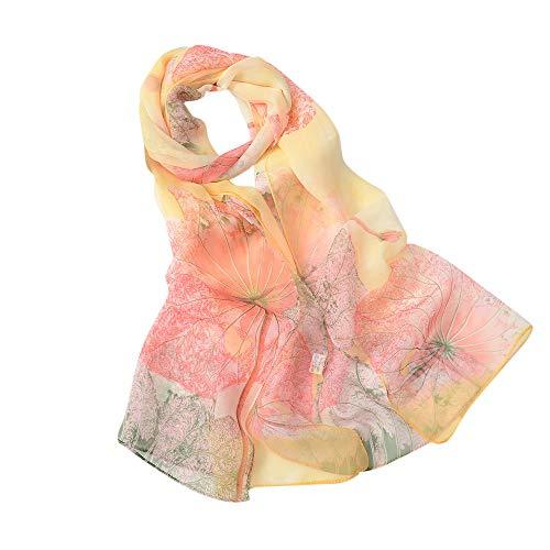 Xmiral Damen Schal Feine Linien Drucken Stilvolle weiche Schal Schal Hals Wrap Kopftuch Stola(Grün)