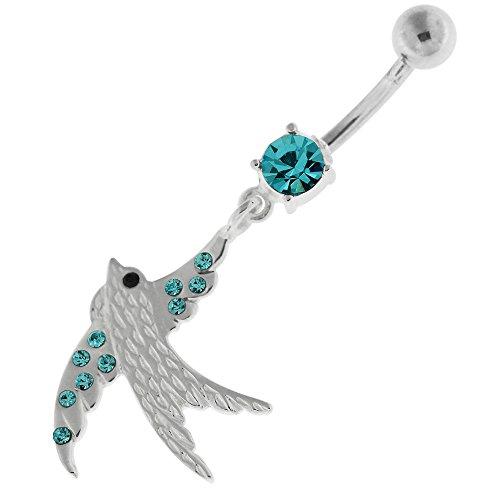 Sparrow fantaisie pendantes en argent 925 avec anneau de nombril en acier inoxydable Bleu clair