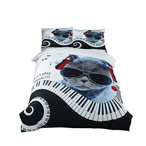 CSYPYLE Juego De Ropa De Cama Estampado De Piano Gato Creativo Funda Nórdica con Funda De Almohada Hogar Hogar Dormitorio Textiles, 200 Cm × 200 Cm