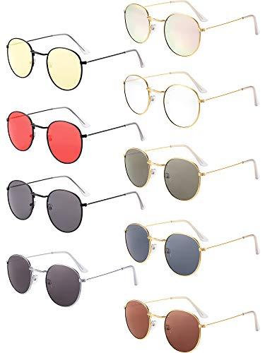 9 Paar Runde Mehrfarbige Sonnenbrille Vintage Retro Klassisch Sonnenbrille für Männer Frauen Reisen Einkaufen Zubehör