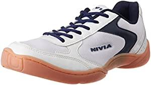 Nivia Badminton Flash Shoes, Men's UK 6 (White/Blue)