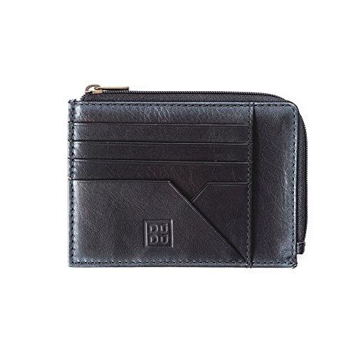Bustina portamonete documenti carte di credito uomo in pelle con lampo DUDU Nero
