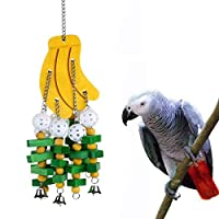 LISSION Bird Toys Bird Chewing Toy Parrot Toys Wood Block Knots with Bells Multicolored for African Grey Cockatoos Amazon Small Medium Parrot Banana Style