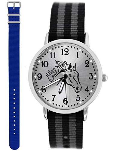 Uhr Pferd Analog Quarz mit 2 Textilarmband schwarz grau Royalblau 10667 ()