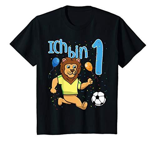 Kinder Erster 1. Geburtstag Fußball Löwe Ich Bin Eins 1 Jahr T-Shirt (1. Jungen-geburtstag Shirt)
