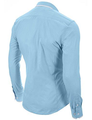 MODERNO Slim Fit Manches Longues Chemise Homme (MOD1445LS) Ciel Bleu