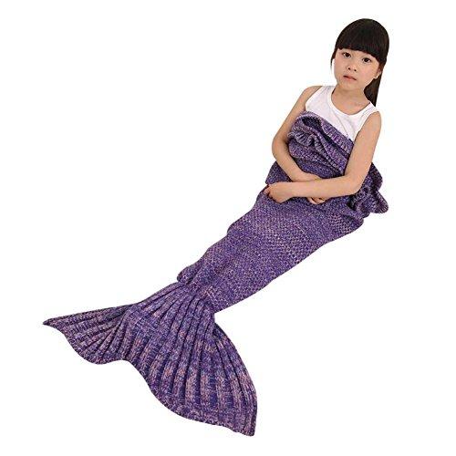 Meerjungfrau Decke, Handgemachte häkeln meerjungfrau flosse decke für Kinder, weiche Strick Mermaid Schwanz Schlafsack für Kinder Size 55 X 27.6 zoll (Lila)