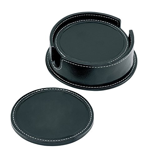 Cescahide Leather Round Coaster Set - Black -