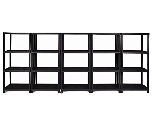 Ondis24 Regal, Lagerregal, 60 x 30 x 138 (H) cm, 12 Zoll Steckregal, Kunststoff, anthrazit, bis maximal 125 kg belastbar (5 Stück)