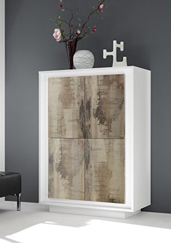 Sky 4 türiger Würfelelement/Highboard, Holz, Weiß Matt/Pero, 106 x 50 x 146 cm