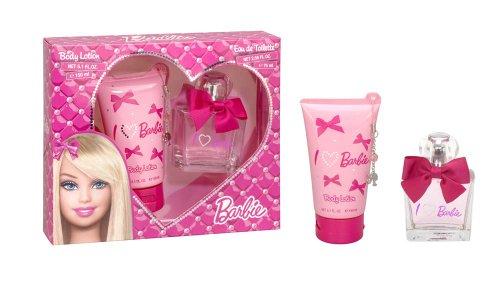 Mattel Barbie, Geschenkset, Eau de Toilette (EdT) 70 ml und Bodylotion 150 ml mit ausgefallenem Charming