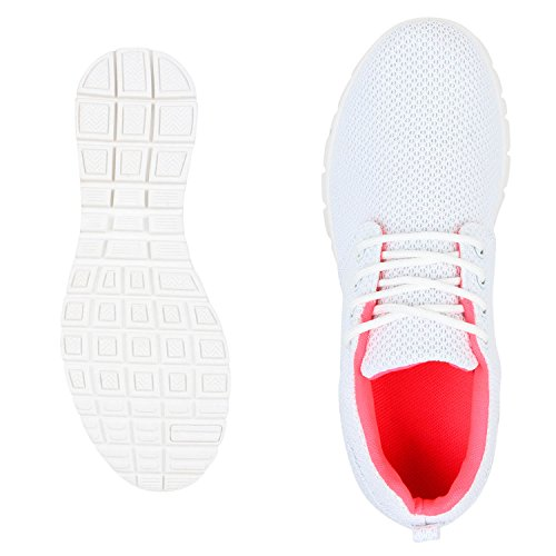 Unisexe Hommes Et Femmes Chaussures De Course Sole Sport Plat Lacets Sneakers Loisir Chaussures Weiss Neonpink