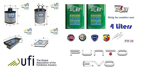 Kit filtri tagliando UFI Punto EVO 1.6 Multijet Start Stop 88 Kw + 4 Litri Olio Selenia 5W30