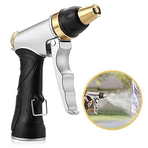Water Spray Gun, Aodoor HN-01 Heavy Duty Metal High Pressure Garden Hose Nozzle Sprayer Car Wash Gun - for car/ motorcycle washing, garden/ lawn watering clean bathroom, kitchen, balcony, corridor, carpet, etc