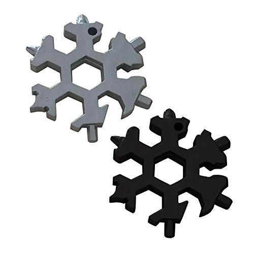 TAOtTAO Multi-Tool-Kombination kleine tragbare Outdoor-Schneeflocke Schlüsselring Snow Keychain Tools Schneeflocke Form Schlüssel Schlüsselbund Multifunktions-Gadget (B+C(2 pcs)) -