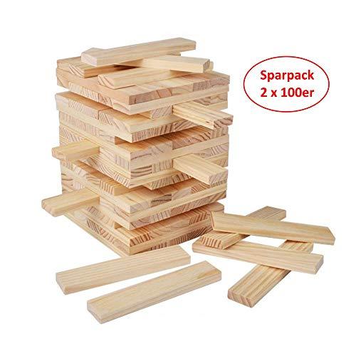 B&Julian® Natur Holzbausteine Holzbauklötze Sparpack 2X 100 unbehandelte Holzbaukasten als Bauspielzeug Wackelturm für Kinder ab 18 Monate