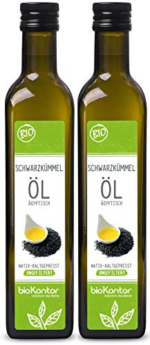 bioKontor // BIO Schwarzkümmelöl ägyptisch - UNGEFILTERT - nativ + kaltgepresst - 2x500ml / 1000ml