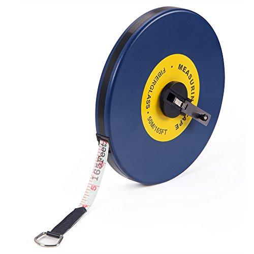 Deuba Kapselmaßband | 50m/165 Ft | Beidseitig markiert | Fiberglas | Öse | Maßband Bandmaß Messband Rollmeter Rollmaßband Rollbandmaß -