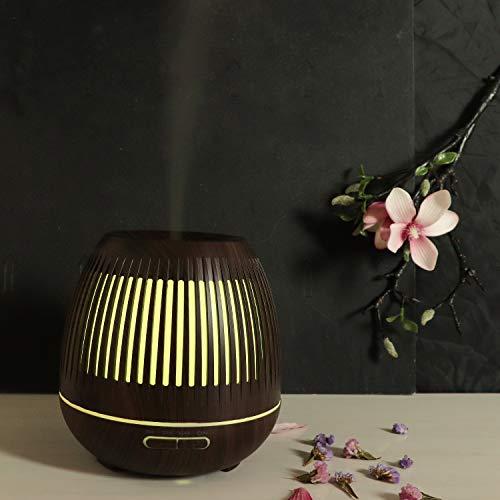ZYJ Haushalts-duftende Öl-Diffusoren, hölzerner Luftbefeuchter-Luftreiniger 400Ml Luftbefeuchter-hohles Nachtlicht für Büro und Schlafzimmer,B
