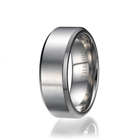 8mm Titanium Ring Wedding Band Design Comfort Fit Brushed and Polished Striped