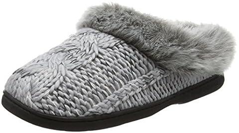 Dearfoams Women's Chunky Novelty Knit Clog with Memorry Foam Low-Top Slippers, Grey (Light Heather Grey 00071), 7-8 Uk (40-41