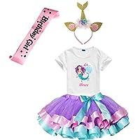 Girls Lavender Tutu Dress with Mermaid Birthday Tshirt & Headband, 3-8 Years (Three)
