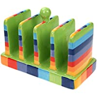Windhorse Regenbogen gestreift Keramik Toastständer–17½ cm x 12cm x 8½ cm–handbemalt
