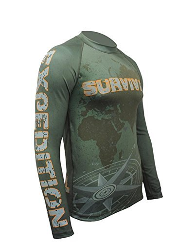Survival. Expedition. Long Sleeve Rash Guard Top. Herren Compression T-shirt. Sports Zone. Motorrad. MMA Fightwear. Training. Gym. Kampfsport (Größe XLarge)