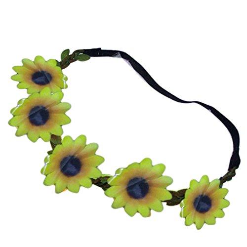 Boho Daisy Haar Bänder für Frauen Haar Dekor Stirnband Festival Elastic Sun Flower Gelb (Flower Stirnband Daisy)