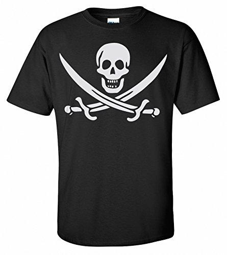 Pirat Calico Jack Rackhams Jolly Roger Totenkopf Flaggen Piraten T-Shirt Schwarz