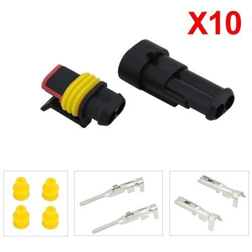 10-Kit-Connecteur-Prise-Impermable-Etanche-15mm-2-Canaux-Pour-Voiture-Bateau