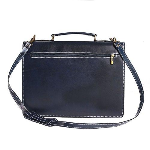 Portadocumenti in pelle italiana, Cartella Borsa da Lavoro Uomo Donna Made in Italy 38x28x12 Cm Blu
