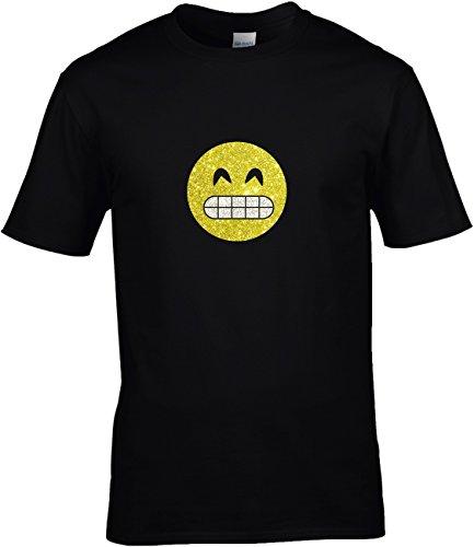 rt Herren GLITZERDRUCK Karneval Gruppen Fasching Junggesellenabschied Emoji Kostüm Emoticon Smiley Breites Grinsen mit Zähnen, 3XL (Grinsen Emoji Kostüm)
