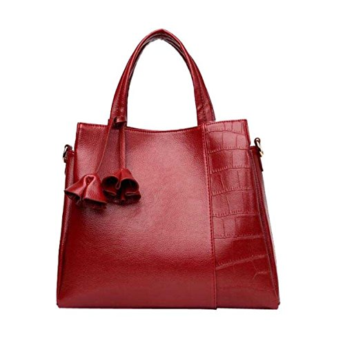 Borsa Litchi Messenger Bag Moda Femminile Red