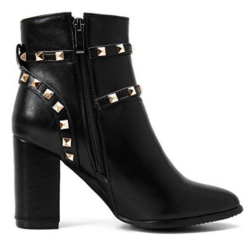 COOLCEPT Damen einfache, elegante Absatzschuhe der Reißverschluss Blockabsatz Martin Stiefel mit Schnallenriemen und Nieten Schwarz