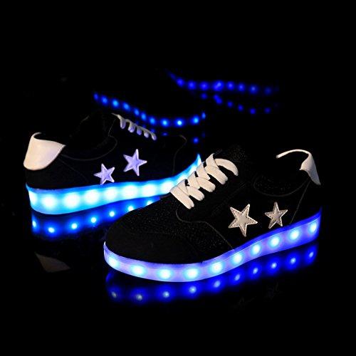 ACMEDE - LED Chaussures Unisexe Homme femme Chaussure LED Sports Basket Lumineuse Clignotantes 7 Couleur A Lacets USB Charge Motif Étoiles Adultes Noir