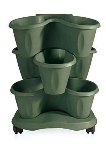 Bama 30017 - Vaso Trifoglio, Set 3 pezzi con Sottovaso, 40x40x51 cm, colore Verde