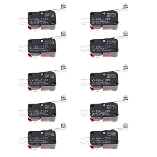 MagiDeal 10er Pack V-156-1C25 Mikro-Endschalter Lange Scharniere Momentane - Endschalter Mikroschalter