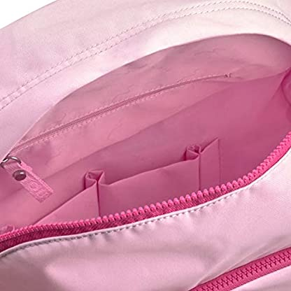 TOUS Mochila mediana en nylon de color rosa combinado con parche de goma. Cierre con cremallera. Apliques personalizados a tono. Correas ajustables y asa superior. Bolsillo interio