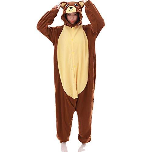DASENLIN Pyjama Kostüm Cosplay Jumpsuit Overall Brown-Bär Zeichentrick Langärmelige Vlies, Herbst Und Winter, ()