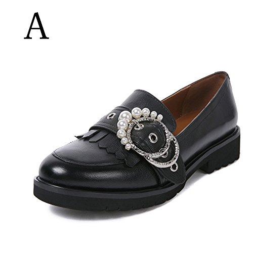 Damen Mokassin Loafers Flat Tassel Frauen Schwarz Halbschuhe Keilabsatz Pumps Schuhe Leder Niedriger Absatz Dicke Sohle Breite Schuhe (42, Schwarz A)