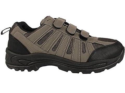 Mens Terrain Hiking Velcro Trail Walking Trekking Style Trainers Shoes Size 7-12 (UK 7, Grey)