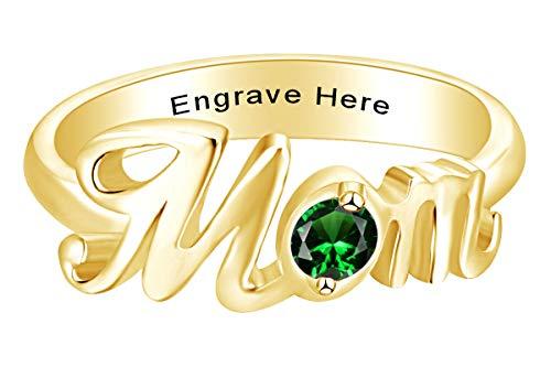AFFY Muttertagsschmuck, personalisierbar, rundes Smaragd-Smaragdring, 18 Karat Gelbgold über Sterlingsilber, Größe 10