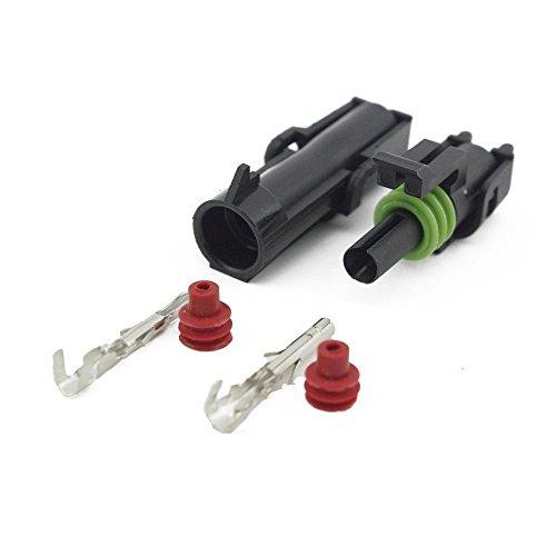 IMAGINE 10 Kit Connettore Elettrico spina Impermeabile 1.5mm terminale 20-14 AWG Nylon Connettore Impermeabile per Auto Camion Marina Moto (Sigillo Verde 1 Spina)