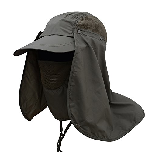 Wingbind Outdoor Sun Protection Angeln Cap mit abnehmbaren Hals Klappe, Gesichtsmaske, breiter Krempe Sommer Hut, Volltonfarbe Boonie Hut für Männer Frauen